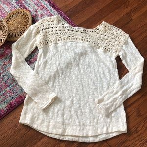 Anthropologie meadow rue cream sweater crochet top